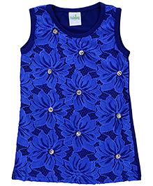 Babyhug Sleeveless Lace Studded Top - Royal Blue