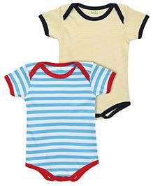 Babyhug Half Sleeves Onesies Stripe Pattern Set Of 2 - Yellow Turquoise
