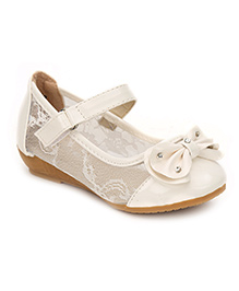 Cute Walk Belly Shoes Floral Net And Bow Design - White