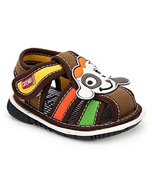 Cute Walk Puppy Applique Squeaky Sandals - Brown