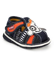 Cute Walk Puppy Applique Squeaky Sandals - Navy Blue