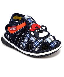 Cute Walk Bear Applique Squeaky Sandals - Blue