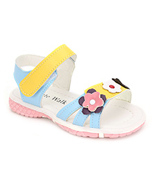 Cute Walk Sandals Floral Motif - Yellow And Blue