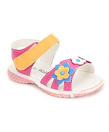 Cute Walk Sandals Floral Motif - Orange And Pink