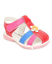 Cute Walk Closed Toe Sandals Flower Motif - Red And Blue