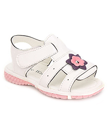 Cute Walk Dual Strap Sandals Flower Motif - White