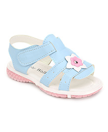 Cute Walk Dual Strap Sandals Flower Motif - Blue