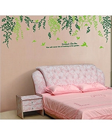 Studio Briana Hanging Branches With Flying Birds Wall Decal - Green