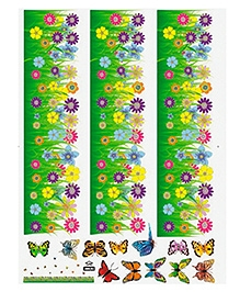 Studio Briana Flowery Bush Skirting With Butterflies Wall Sticker - Multi Color