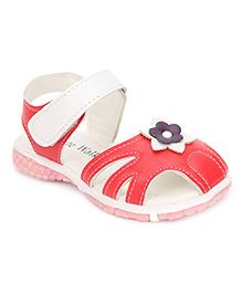 Cute Walk Sandals Flower Motif - Red