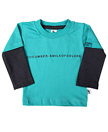 Cucumber Doctor Sleeves T-Shirt Smile Of Colors Print - Sea Green