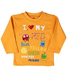 Zero Full Sleeves T-Shirt Monster Print - Yellow