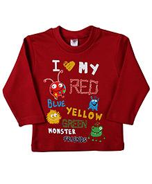 Zero Full Sleeves T-Shirt Monster Print - Maroon