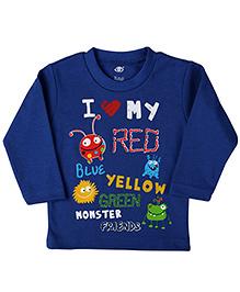 Zero Full Sleeves T-Shirt Monster Print - Blue