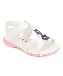 Cute Walk Floral Motif Sandals - White