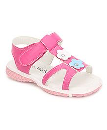 Cute Walk Floral Motif Sandals - Rose Pink