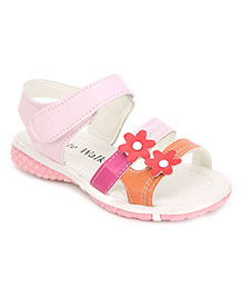 Cute Walk Flower Design Sandals - Pink And White