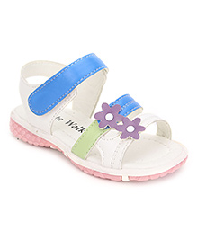 Cute Walk Flower Design Sandals - Blue And White