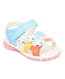 Cute Walk Flower Design Sandals - Light Blue And White