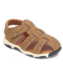 Cute Walk Casual Sandals With Velcro Strap - Light Brown