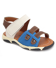 Cute Walk Sandals With Velcro Closure - Brown And Cream