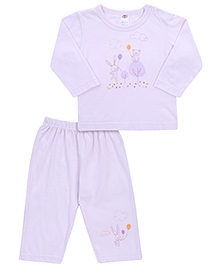 Zero T-Shirt And Pajama Set Bunny Bear Print - Light Purple