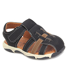 Cute Walk Closed Toe Sandals - Black And Coffee Brown