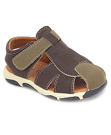 Cute Walk Casual Sandals With Velcro Closure - Dark Brown And Green