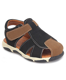 Cute Walk Casual Sandals With Velcro Closure - Black And Brown