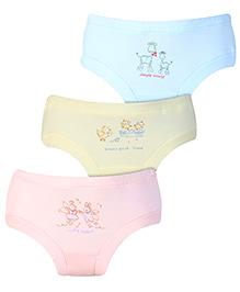 Zero Panties Multi Print Set Of 3 - Light Yellow Sky Blue Peach