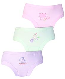 Zero Panties Multi Print Set Of 3 - Purple Pink Light Green