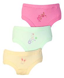Zero Panties Multi Print Set Of 3 - Green Dark Pink Light Yellow