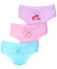 Zero Panties Multi Print Set Of 3 - Purple Blue Light Pink