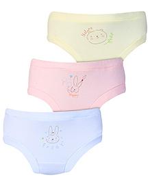 Zero Panties Multi Print Set Of 3 - Sky Blue Light Pink Light Yellow