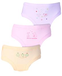 Zero Panties Multi Print Set Of 3 - Purple Pink Light Yellow