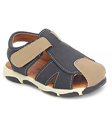 Cute Walk Casual Sandals With Velcro Closure - Dark Grey And Light Brown