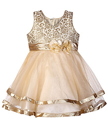 Babyhug Sleeveless Self Embroidery Bodice Frock - Fawn