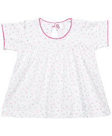 Zero Short Sleeves Frock Floral Print White Base - Pink