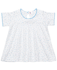 Zero Short Sleeves Frock Floral Print White Base - Aqua Blue