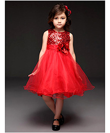 Red Rosette & Sequins Dress