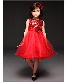 The KidShop Red Rosette & Sequins Dress
