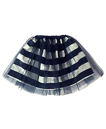Rainbow Runway Layered Skirt With Stripes - Blue And White