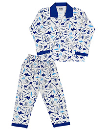 Fido Full Sleeves Night Suit Flying Club Print - Blue And Off White