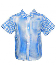 Hugs N Tugs Half Sleeves Printed Shirt - Blue