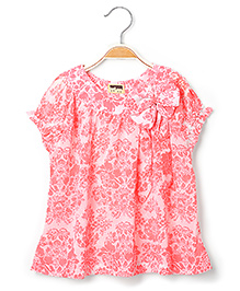 Hugs N Tugs Neon Print Top - White And Pink