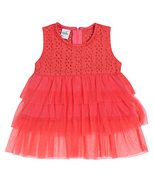 Babyhug Sleeveless Hakoba Frock - Coral Red