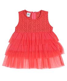 Babyhug Sleeveless Hakoba Frock - Coral Red