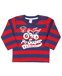 Pink Rabbit Full Sleeves T-Shirt Bike Print - Red And Blue