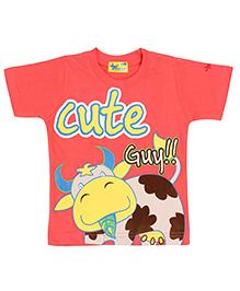 Grasshopper Junior Glow In Dark T-Shirt Cow Print - Reddish Pink