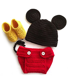 The Original Knit Baby Mouse Diaper Set with Cap & Booties - Red & Black